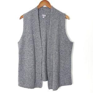 J. Jill Open Cardigan Wool Sweater Vest Gray L